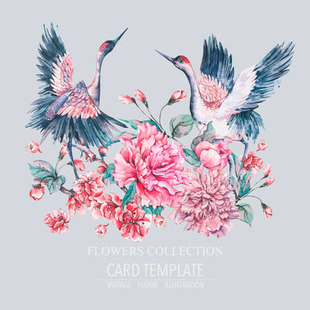 Vektornaturkarte mit Kranich, Pfingstrosen der rosa Blumen und blühenden Zweigen der Kirsche, Tierdekoration, botanische Illustration