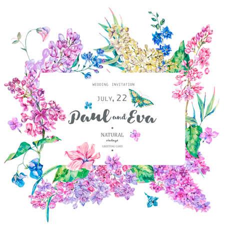 Vector vintage floral greeting card with pink lilac. Natural invitation, border, wedding frame, spring illustration