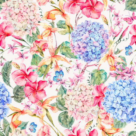 Vector vintage floral seamless pattern with hydrangeas, orchids, wildflowers and butterflies. Natural invitation, frame, colorful illustration