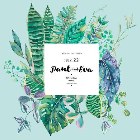 Vector green exotic leaves. Natural tropical greeting card, greenery botanical illustration