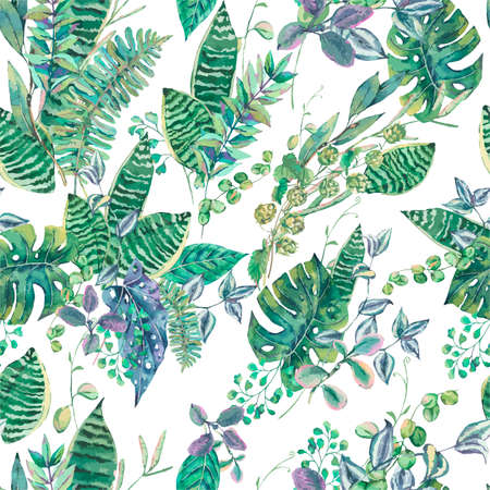 Vector seamless pattern with green exotic leaves. Natural tropical greeting card, greenery botanical illustration Stock Illustratie