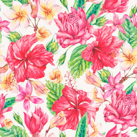 Vector vintage bright tropical flowers seamless pattern. Exotic floral, Plumeria, Chinese Hibiscus, Twigs and Leaves. Botanical classic illustration