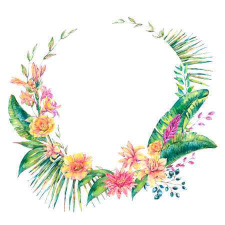 Exotic natural vintage watercolor round frame of blooming orchid flowers, banana leaves, wildflowers. Botanical wreath isolated natural Illustration on white background, greenery vibes