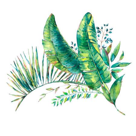 Exotic natural vintage watercolor greeting card of banana leaves. Botanical natural Illustration on white background, greenery vibes Reklamní fotografie