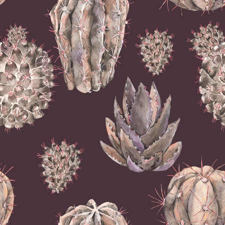 Exotic natural vintage watercolor cactus seamless pattern. Cactus, succulent, flowers. Botanical natural Illustration on black background