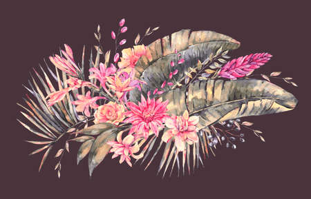 Exotic natural vintage watercolor blooming orchid flowers, banana leaves, wildflowers greeting card. Botanical isolated natural Illustration on black background, greenery vibes