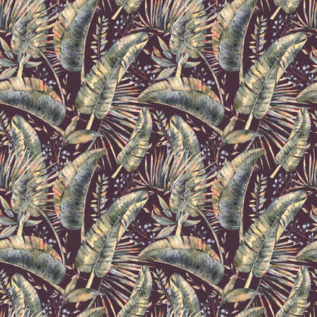 Exotic natural vintage watercolor seamless pattern of banana leaves. Botanical natural Illustration on black background, greenery vibes