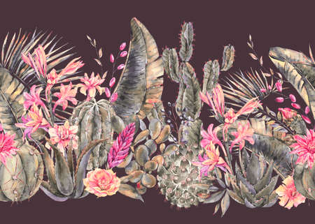 Exotic natural vintage watercolor blooming cactus seamless border. Cactus, succulent, banana, orchid flowers. Botanical isolated natural Illustration on black background Reklamní fotografie