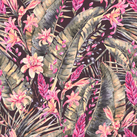 Exotic natural vintage watercolor seamless pattern of blooming orchid flowers, banana leaves, wildflowers. Botanical isolated natural Illustration on black background, greenery vibes Reklamní fotografie