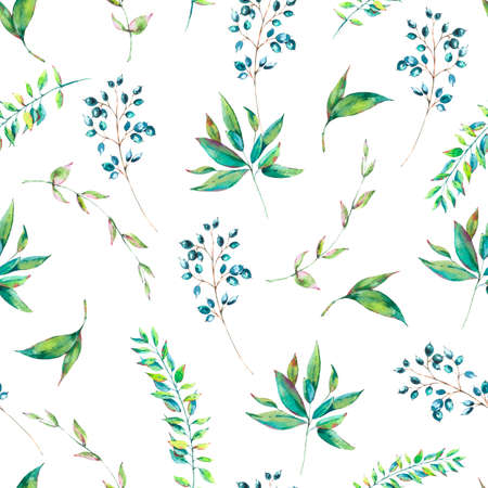 Exotic natural vintage watercolor seamless pattern of green leaves and berries. Botanical natural Illustration on white background, greenery vibes