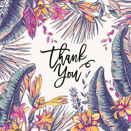 Vector greeting card of tropical leaves, Exotic natural vintage blooming orchid flowers, banana leaves, wildflowers, greenery vibes. Botanical frame, thank you template