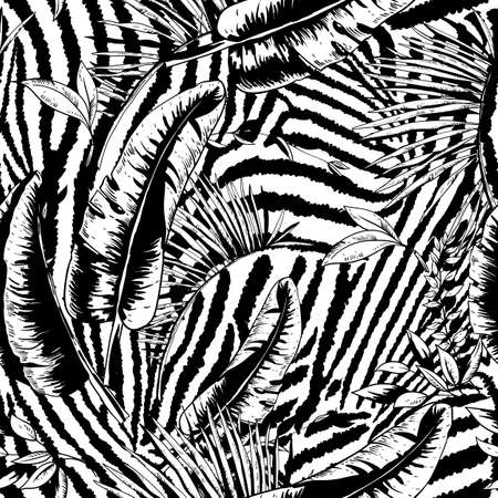Vector monochrome seamless pattern of tropical leaves, Exotic natural vintage texture, greenery vibes. Botanical black white illustration on zebra background