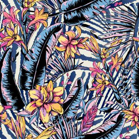 Vector seamless pattern of tropical leaves, Exotic natural vintage blooming orchid flowers, banana leaves, wildflowers, greenery vibes. Botanical illustration on zebra background Ilustrace