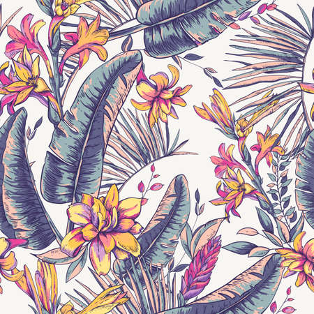 Vector seamless pattern of tropical leaves, Exotic natural vintage blooming orchid flowers, banana leaves, wildflowers, greenery vibes. Botanical illustration
