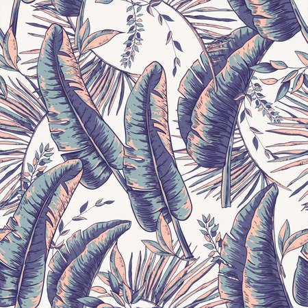 Vector seamless pattern of tropical leaves, Exotic natural vintage texture, greenery vibes. Botanical illustration Ilustrace