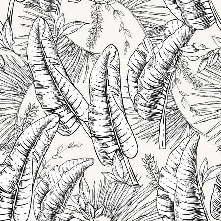 Vector monochrome seamless pattern of tropical leaves, Exotic natural vintage texture, greenery vibes. Botanical black white illustration Ilustrace