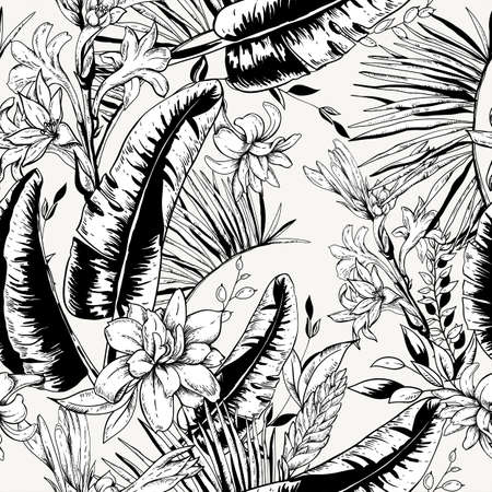 Vector monochrome seamless pattern of tropical leaves, Exotic natural vintage blooming orchid flowers, banana leaves, wildflowers, greenery vibes. Botanical black white illustration Ilustrace