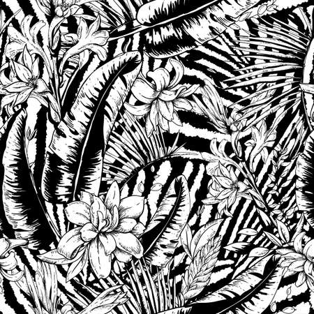 Vector monochrome seamless pattern of tropical leaves, Exotic natural vintage blooming orchid flowers, banana leaves, wildflowers, greenery vibes. Botanical black whiteillustration on zebra background