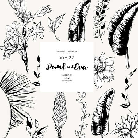 Vector monochrome greeting card of tropical leaves, Exotic natural vintage blooming orchid flowers, banana leaves, wildflowers, greenery vibes. Botanical frame, template black white invitation Ilustrace