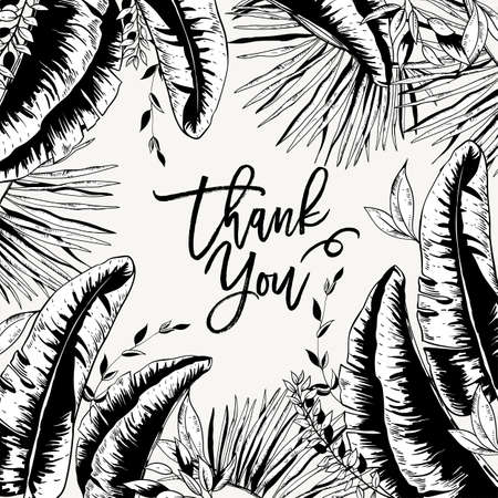 Vector monochrome greeting card of tropical leaves, Exotic natural vintage banana leaves illustration, greenery vibes. Botanical black white frame, thank you template