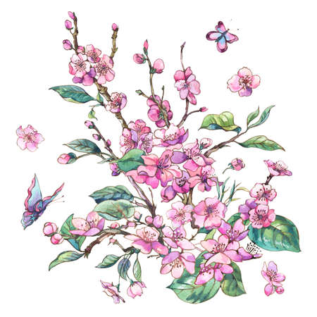 Watercolor pink blooming branches of cherry peach, pear, sakura