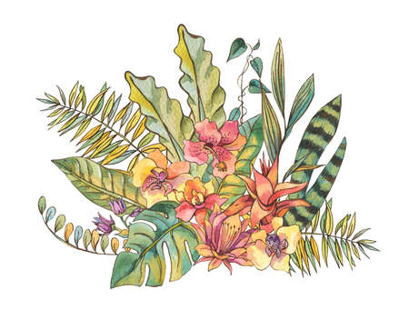 Exotic natural vintage watercolor blooming orchid flowers, banan