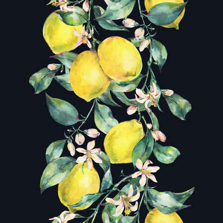 Watercolor vintage vertical seamless border of lemon fruit Reklamní fotografie