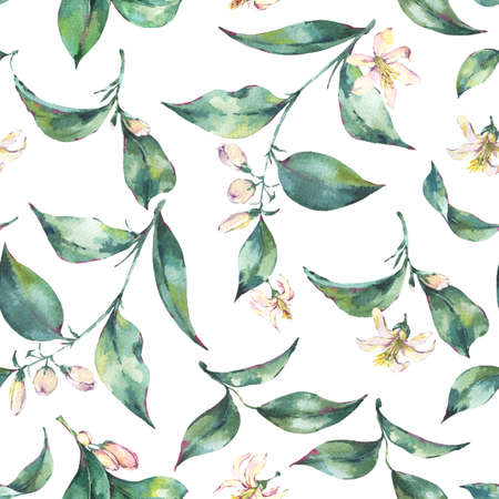 Watercolor Seamless Exotic Background with Green Leaves