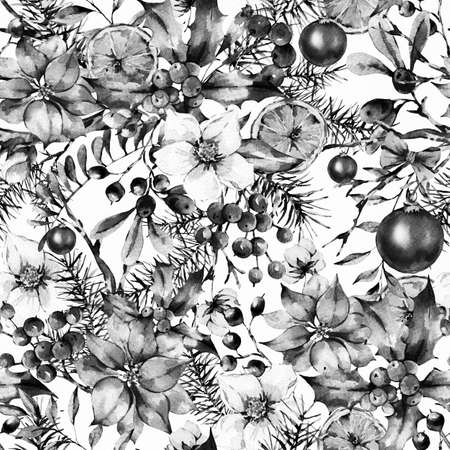 Watercolor Vintage Floral seamless pattern, New Year Decoration