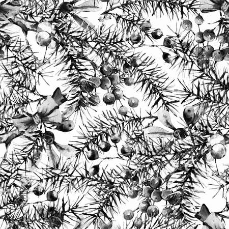 Winter Watercolor Christmas seamless pattern with Tree Branches Reklamní fotografie