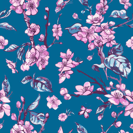 Vector spring seamless pattern, vintage floral bouquet with pink blooming branches of cherry peach, pear, sakura, apple trees and butterflies, natural illustration