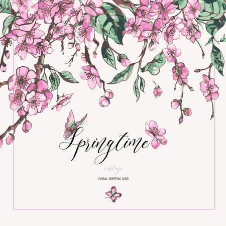 Vector spring greeting card, vintage floral bouquet with pink blooming branches of cherry peach, pear, sakura, apple trees and butterflies Ilustrace