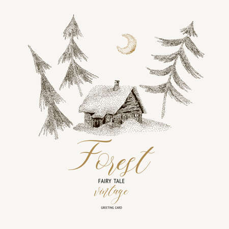 Vector black and white winter vintage card with magical forest and house covered snow, Christmas decoration, Cartoon holiday illustration Ilustrace