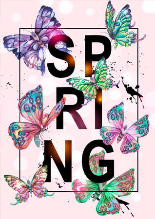 Vector spring natural vertical frame, greeting card, colorful butterflies