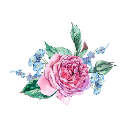 Classical Watercolor Vintage Floral Greeting Card, Watercolor Bo