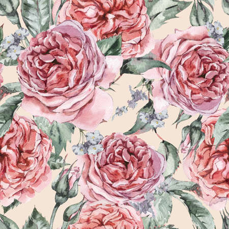 Classical Watercolor Vintage Floral Seamless Pattern Reklamní fotografie