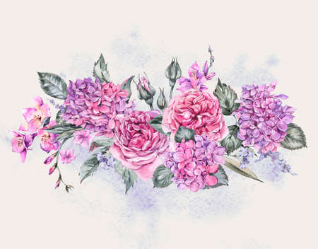 Summer Watercolor Vintage Floral Bouquet with Blooming Hydrangea