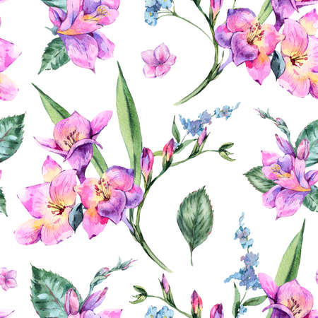 Watercolor Floral Seamless Pattern of Freesia and Garden Flowers