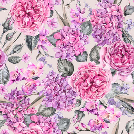 Summer Watercolor Vintage Floral Seamless Pattern with Blooming