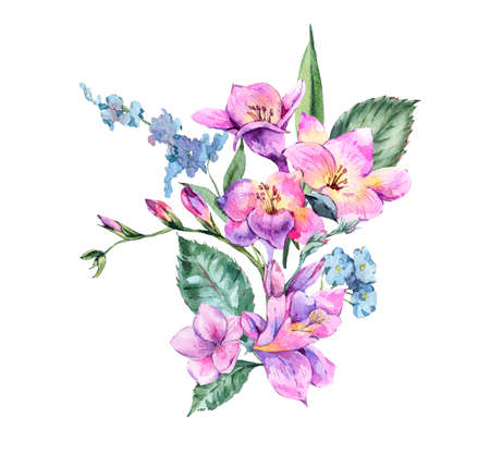 Watercolor Vintage Floral Bouquet of Blooming Freesia and Garden Reklamní fotografie