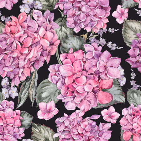 Summer Watercolor Vintage Floral Seamless Pattern with Blooming Hydrangea, Reklamní fotografie