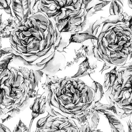 Classical Monochrome Watercolor Vintage Floral Seamless Pattern