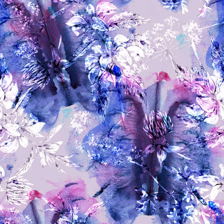 Watercolor abstract seamless pattern with hand painted artistic texture, silhouette of flowers. Natural background