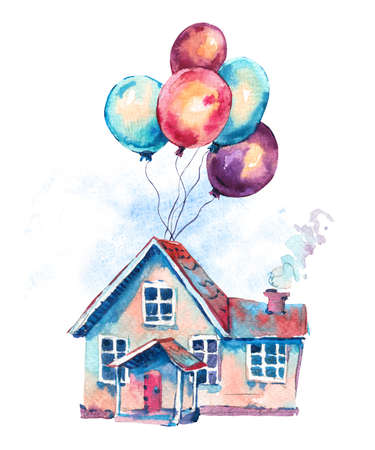 Watercolor fantasy house and colorful air balloons. Hand drawn sweet home greeting card, air balloons isolated on white background. Party design collection Reklamní fotografie