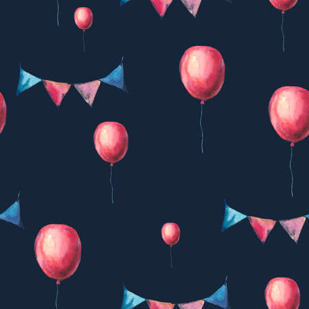 Watercolor Red Air Balloons and Party Garlands Seamless Pattern. Hand Drawn  Illustration on Black Background. Wedding Design Collection