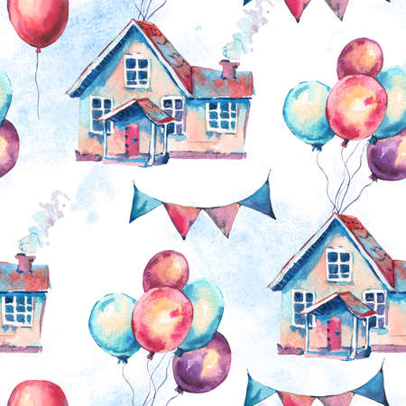 Watercolor Fantasy House and Colorful Air Balloons Seamless Pattern. Hand Drawn Sweet Home Illustration, Air Balloons on White Background. Party Design Collection