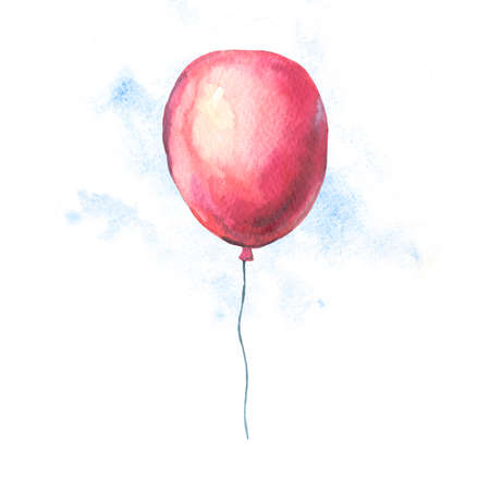 Watercolor Red Air Balloons Greeting Card. Hand Drawn Illustration Isolated on White Background. Party Design Collection