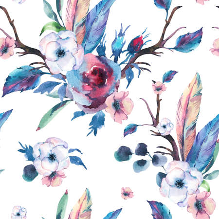 Vintage Watercolor Seamless Pattern of Roses, Anemones, Feathers, Horns and Wildflowers, Watercolor Illustration on White Background. Bohemian Design Collection