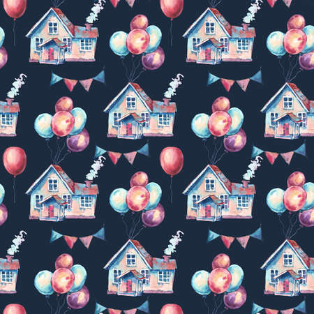 Watercolor Fantasy House and Colorful Air Balloons Seamless Pattern. Hand Drawn Sweet Home Illustration, Air Balloons on Black Background. Party Design Collection