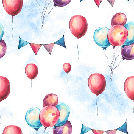 Watercolor Colorful Air Balloons and Party Garlands Seamless Pattern. Hand Drawn  Illustration on White Background. Wedding Design Collection
